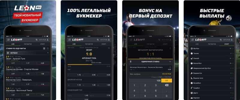 Интерфейс и функционал приложения БК Леон