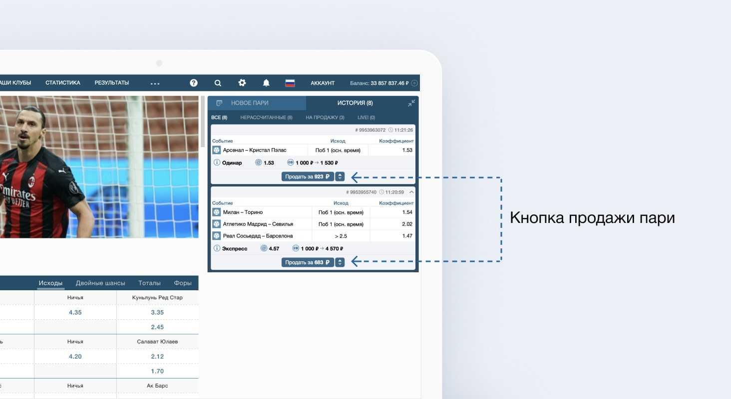 "Конопка продажи пари на официальном сайте БК ""Фонбет"""